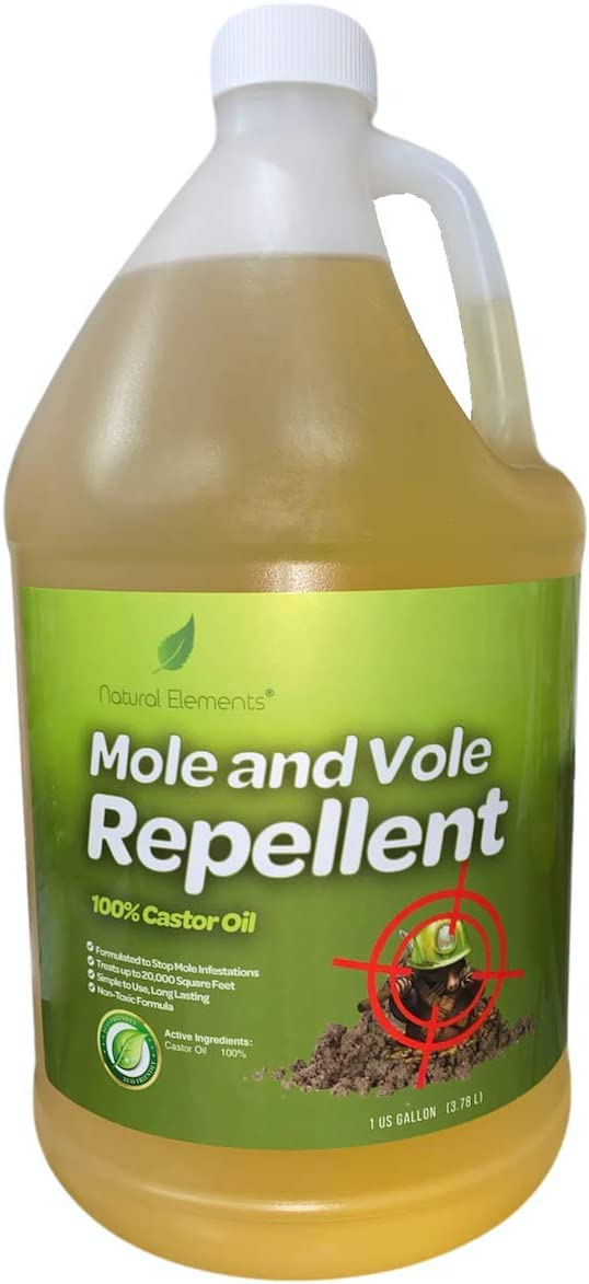 Natural Elements Mole and Vole Repellent | 100% Castor Oil | Pet Safe and Non Toxic | Food Grade | 128 oz (1 Gallon)