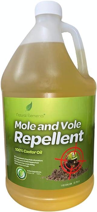 Natural Elements Mole and Vole Repellent   100% Castor Oil   Pet Safe and Non Toxic   Food Grade   128 oz (1 Gallon)