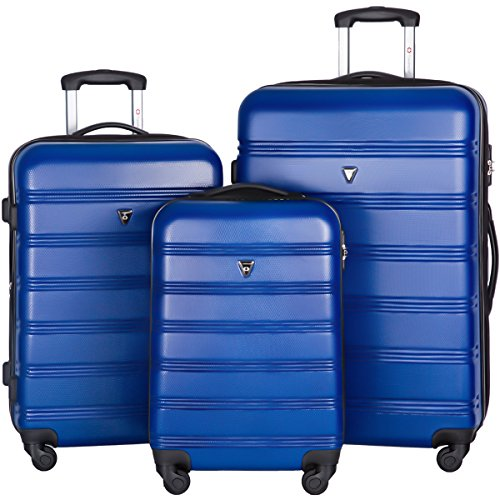 Merax Travelhouse Luggage 3 Piece Expandable Spinner Set Blue by Merax