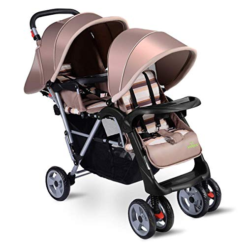 3 Color Foldable Twin Baby Double Stroller (Beige)