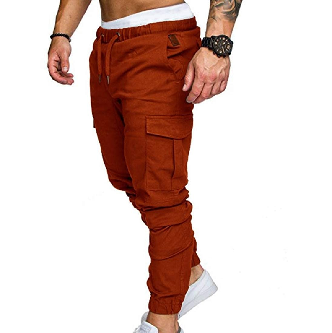 YUNY Mens Leisure Plus-Size Cargo Harem Comfortable Fit Jogger Pants Coffee 2XL