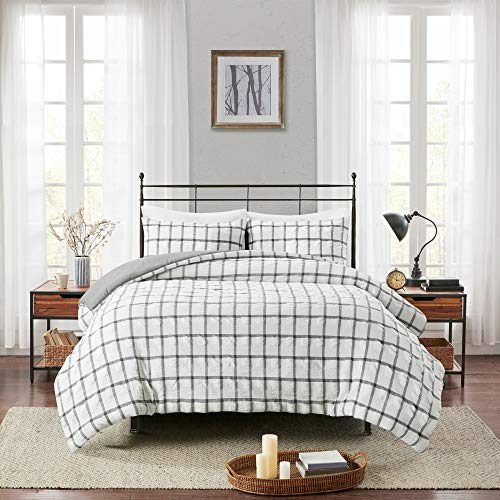 MISC White Seersucker Duvet Cover King - Cal King Size Grey Windowpane Grid Lines Pattern Reversible to Solid Color Textured Seer Sucker Bedding Set, 3pcs