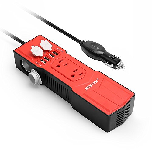 BESTEK 200W Power Inverter DC 12V to AC 110V Car Inverter with 4.8A 4 USB Ports Car Adapter and Car Cigarette Lighter Socket - 4 Outlet 12vdc Adapter