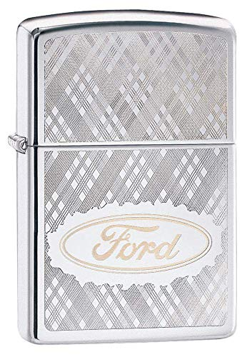 Custom Personalized Zippo High Polish Chrome Ford Windproof Lighter Free Engraving ()