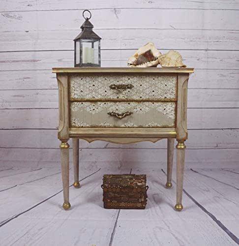Mesita de noche lino, blanca y dorada, mesilla de noche para dormitorio de invitados o dormitorio individual
