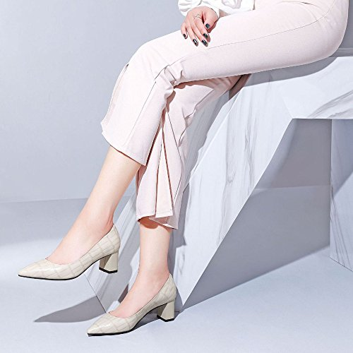 Basses Cuir Bouche Pointue Sauvages pour en Chaussures Mode Bonbons Profonde Peu Casual Femmes Chaussures DKFJKI Hauts Paresseuses Beige Plaid Talons qwtRtzxO