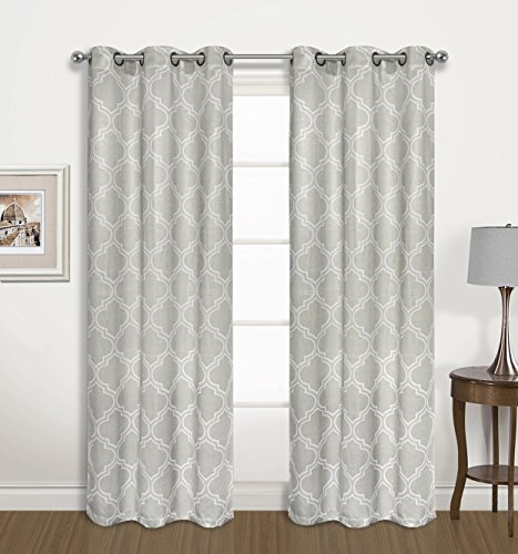 2 Pack: Regal Home Collections Luxurious Trellis Design Blackout Curtain Panels – Assorted Colors (Steeple Grey)