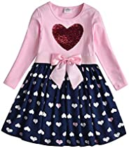 VIKITA Kids Girls Winter Long Sleeve Casual Cartoon Appliques Striped Dresses for 2-8 Years