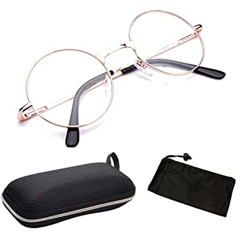 7012b25c429 Men   Women Unisex Clear Lens Round Shape Metal Wired Spring Hinged Reading  Glasses Readers (