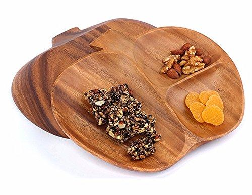 Wooden Apple Shaped 3 Section Serving Tray Platters Bowl For Fruit,Dessert Platter Tray Dish Kitchen Dining Fruit,Dessert,Snack -
