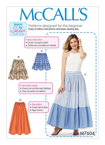 MCCALLS M7604 Misses' Pull-On Gathered Skirts with Tier and Length Variations (SIZE 4-14) SEWING PATTERN