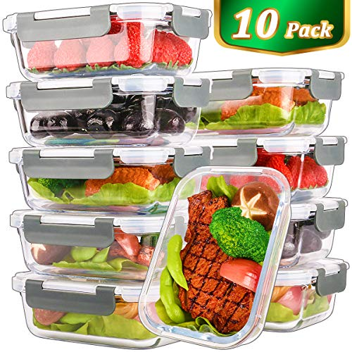 [10 Pack,22 Oz]Glass Meal Prep Containers,Glass Food Storage Containers with lids,Glass Lunch Containers,Microwave, Oven, Freezer and Dishwasher Safe(22 ()