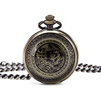 Bronze Mens Dragon & Phoenix Dangle Pendant Pocket Quartz Watch Chain + Box