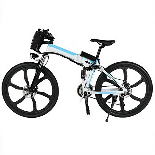 Electric Mountain Bike with Large Capacity Lithium-Ion Battery (36V 250W) | Aluminum Alloy Spokes | Shimamo Gear | Full Suspension | 30KM/H Speed (White) ()