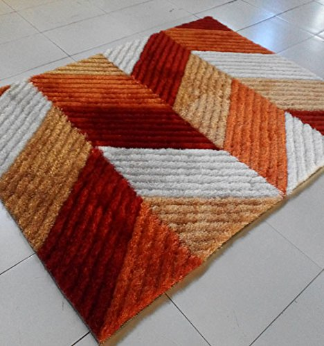 Homemusthaves Super Soft Modern Shag Shaggy Modern Contemporary Area Rugs Living Room Carpet Bedroom Rug Home Decorator Floor Rug and Carpets Hand Carved (5x8 Feet, (Square Orange Shag Rug)