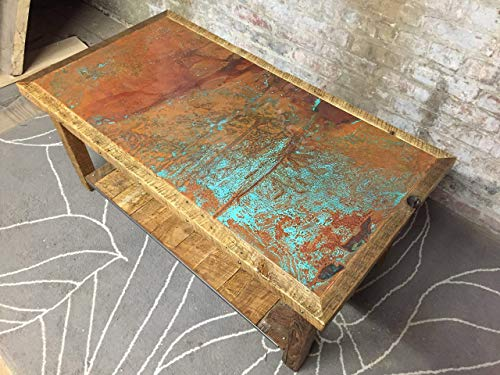 (Copper and reclaimed wood coffee table)