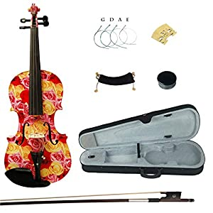 Kinglos 4/4 Yellow Red Rose Colored Ebony Fitted Solid Wood Violin Kit with Case, Shoulder Rest, Bow, Rosin, Extra Bridge and Strings Full Size (XC1003) 51D4o2aJDaL