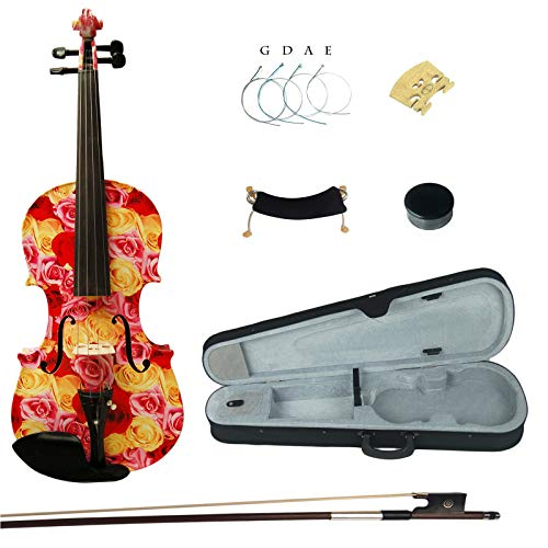 Kinglos 4/4 Yellow Red Rose Colored Ebony Fitted Solid Wood Violin Kit with Case, Shoulder Rest, Bow, Rosin, Extra Bridge and Strings Full Size ()