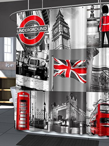 Splash Home London Shower Curtain, 70 x 72-Inch, Grey (Union Jack Shower Curtain compare prices)
