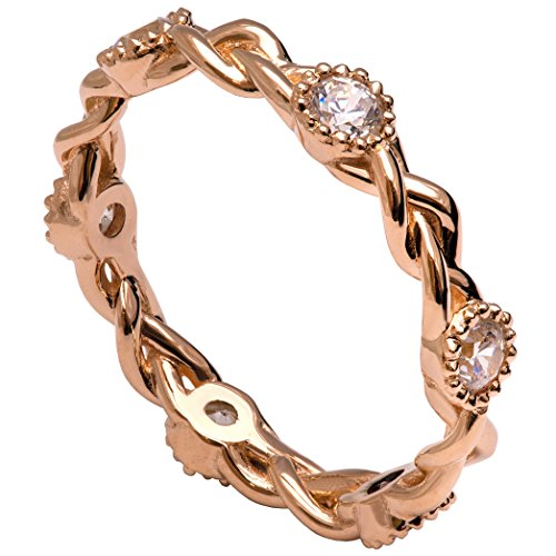 Woven Leaf Ring (Solid 18K Rose Gold and Diamonds Braided Eternity Wedding Ring For Women His and Hers Leaf Sets Promise Band Celtic Woven)