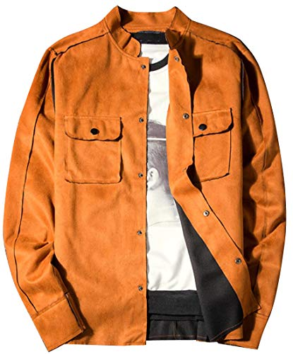 DFBB Mens Trim-Fit Pockets Casual Mandarin Collar Single Breasted Suede Fabric Jacket Coat Outwear 1 L