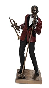 African American Jazz Band Male Singer with Trumpet Cold Cast Bronze Statue Figurine 11 5/8 Inch Tall
