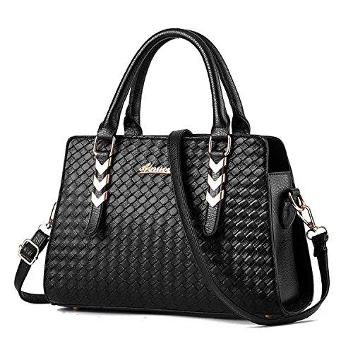 Vincico® Women Black Fashion Pure Color Pu leather Shoulder Bag Crossbody Top-handle Tote Handbags - Large Single Compartment Tote Handbag