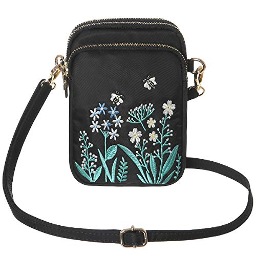 (HAIDEXI Lightweight Nylon Small Purses and Embroidered small bee bag Small Crossbody bag Cell Phone Purses Wallet for Women (Embroidery-A))