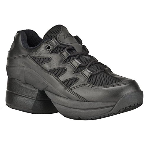 Z-CoiL Men's Freedom Slip Resistant Enclosed Coil Black Leather Tennis Shoe 10 D(M) US