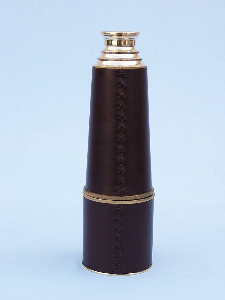 Hampton Nautical  Admiral's Brass/Leather Spyglass Telescope with Rosewood Box, 32'', Brass by Hampton Nautical