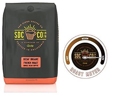San Diego Coffee Organic French Decaf Dark Roast Whole Bean, 80 Ounce