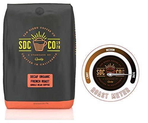 San Diego Coffee Organic French Decaf Dark Roast Whole Bean, 5-Pound Bag