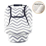 Stretchy Baby Car Seat Cover, Infant Car Canopy, Gray White Chevron Deal