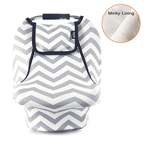 Baby Cozy Cover - Stretchy Baby Car Seat Covers for Boys Girls, Infant Car Canopy for Spring Autumn Winter,Snug Warm Breathable Windproof, Zipped Peep Window,Universal Fit, Grey White Chevron -Patented Design