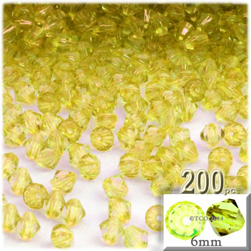 (The Crafts Outlet, 200-pc Acrylic Bicone Beads, Faceted, 6mm, Yellow)