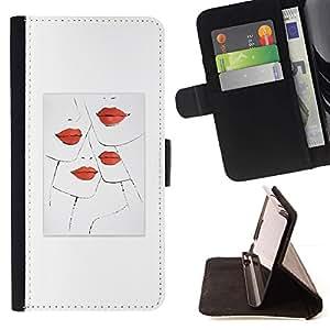 For Sony Xperia Z1 L39 Case , Labios Beso Moda Diseño Minimalista Blanca- la tarjeta de Crédito Slots PU Funda de cuero Monedero caso cubierta de piel