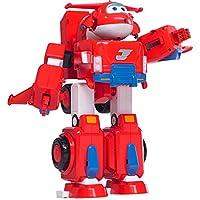 "Super Wings - Jett's Super Robot Suit Vehículo de juguete transformador grande | Incluye Jett | Escala de 5 """