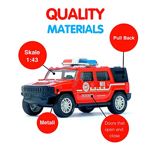 - AutoGrad Red Toy Fire Hummer | Small Metal Push and Go Friction Powered Fire Engine Car