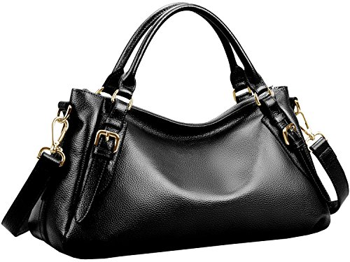 Imported Top Handle Bags - S-ZONE Women's Vintage Genuine Leather Handbag Top-handle Purse Hobo Shoulder Bag