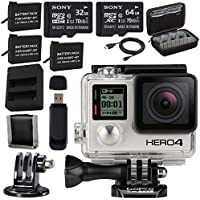 GoPro HERO4 Black + Rechargeable Battery + Dual Battery Charger + Sony 32GB microSDHC Card + Sony 64GB microSDXC + Case for GoPro HERO4 and GoPro Accessories + Tripod Adapter For GoPro Bundle