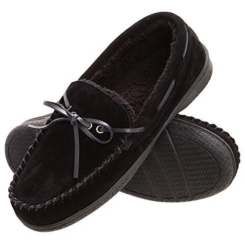 Heat Edge Mens Memory Foam Suede Slip on Indoor Outdoor Moccasin Slipper Shoe (10, Black)