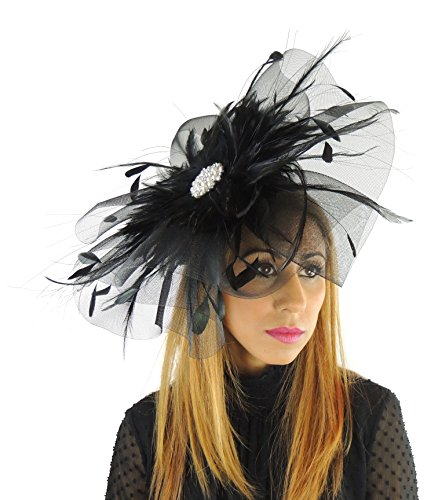Hats By Cressida crin & Feathers Elegant Ladies Ascot Wedding Fascinator Hat Black by Hats By Cressida