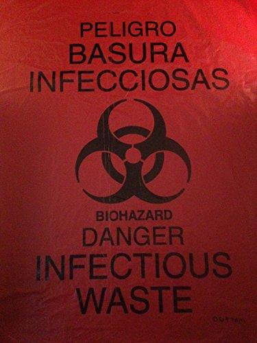 - Rollpak Biohazard LLDPE Waste Disposable Bag, Qty 10 bags, 60 Gallon Capacity, 38 W x 58 L, 1.20 mil, 30 micron, Red STX-3860RP