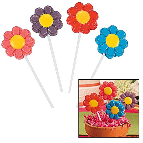 Fun Express Bright Flower Suckers - 1 dozen - Cute Spring Party Favors and Decorations - Novelty Candy ()