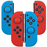Joy-Con (L/R) Silicone Protective Casing for Nintendo Switch Controllers with Kourpar Thumb Grips Caps (2 Pairs Pack Red/Blue/Blue/Red)