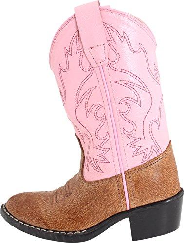 Old West Cowboy Boots Girls Kids Round PVC 12.5 Child Tan Pink 8139