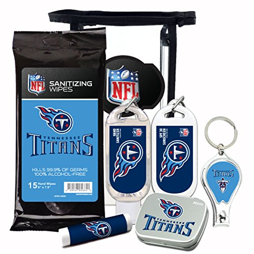 (Tennessee Titans 6-Piece Fan Kit with Decorative Mint Tin, Nail Clippers, Hand Sanitizer, SPF 15 Lip Balm, SPF 30 Sunscreen, Sanitizer Wipes. NFL Football Gifts for Men and Women)
