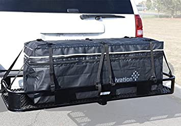 Hitch bag - 100 % Waterproof Expandable Hitch Tray Cargo carrier bag 48' x 19' x 22' (11 Cu Ft) Ivation