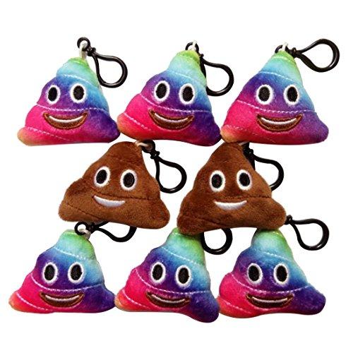 Emoji Poop Toy Plush Keychain 2 inch, set of 8 -
