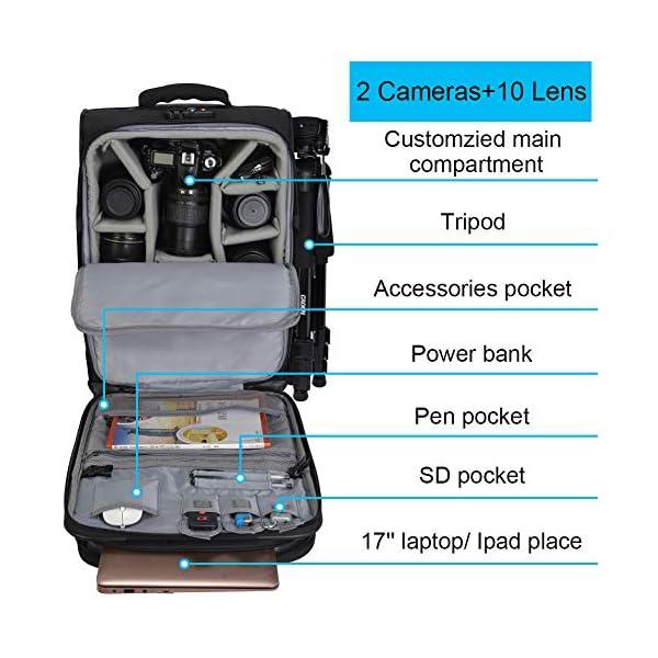 CADeN Camera Backpack Trolley Case